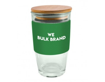 475ml Bamboo Lid Glass Cups Logo Decorated