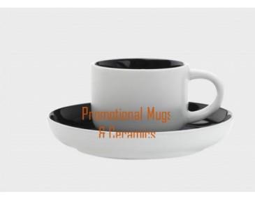 Tint Demi Cup & Saucers 100ml Black