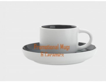 Tint Demi Cup & Saucers 100ml Charcoal