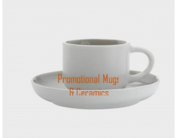 Tint Demi Promotional Cups & Saucers 100ml Grey
