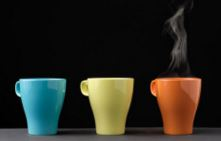 Three Coloured Ceramic Cups